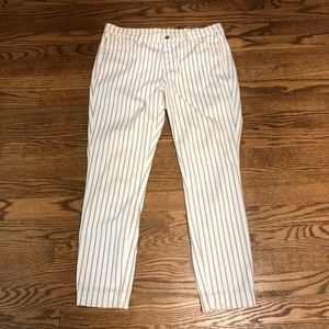 Uniqlo white black purple pinstripes jeggings